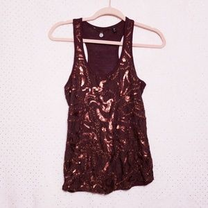 BKE Tops - BKE Boutique*Copper*Lace & Sequins Racerback Tank